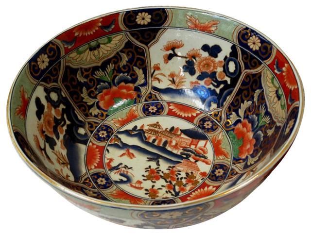 Private Potters Orange And Blue Village Porcelain Bowl
