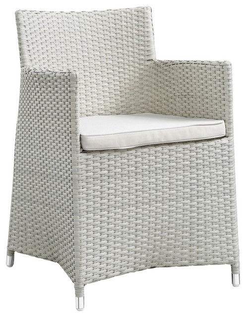 Junction Dining Outdoor Patio Armchair, Gray White.