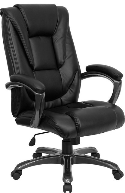 Aberdeen High-Back Black Leather Professional Executive Swivel Chair With Arms.