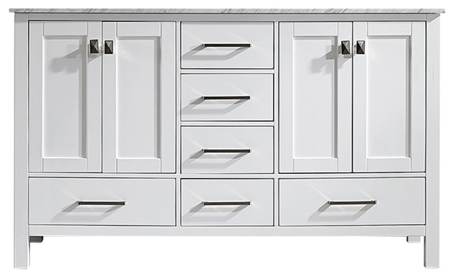 Gela Double Vanity Without Mirror, White, 60""