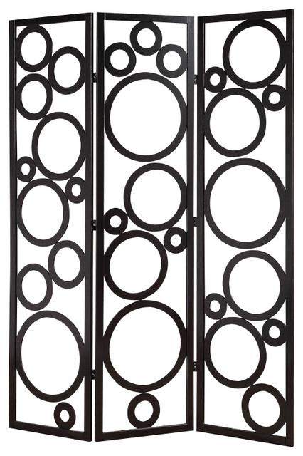 delicate black circles pine wood 3 panels room divider screen shoji