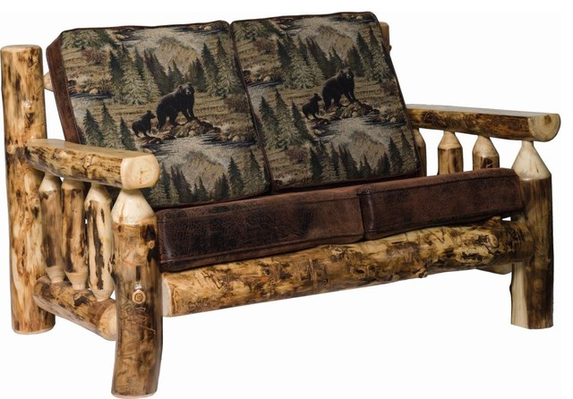 Magnificent Rustic Aspen Log Living Room Love Seat Andrewgaddart Wooden Chair Designs For Living Room Andrewgaddartcom