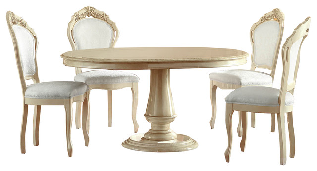 Rossella Dining Set, Ivory, Table, 4 Side Chairs Victorian Dining Sets