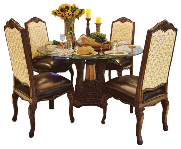 Victoria Palace 5 Piece 60 Round Glass Top Dining Table Set