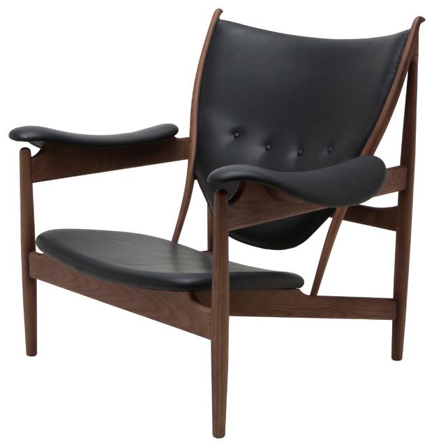 Grande Occasional Chair, Black, Walnut.