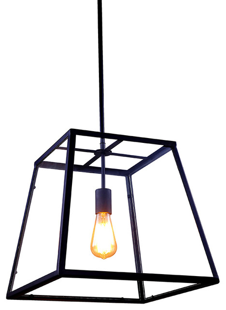 Retro Style Metal and Glass Box Pendant Light Industrial