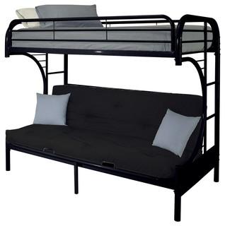 Eclipse Futon Bunk Bed, Black, Twin Over Queen