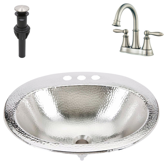 "Dalton Drop-In Nickel Sink Kit With Pfister 4"" Nickel Faucet & Drain"