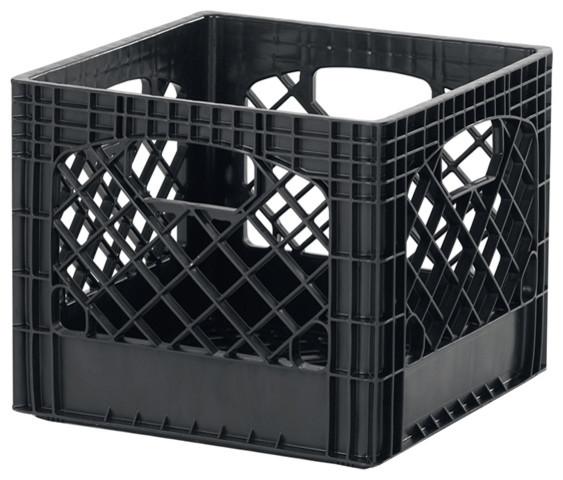 Black Plastic Milk Crates, Set Of 2.