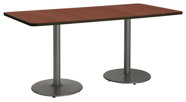30 X 72 Pedestal Table With Mahogany Top Round Silver Base Contemporary Dining Tables By Kfistudios Houzz