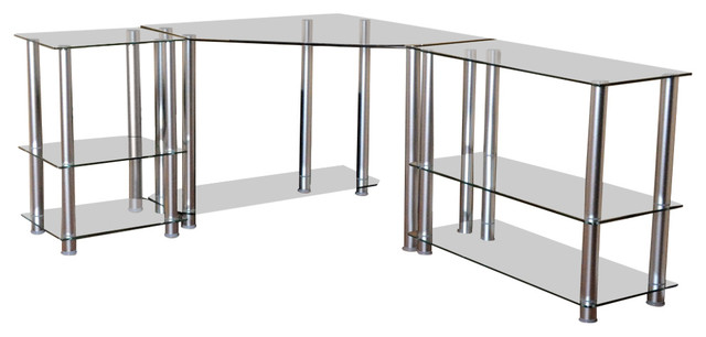 Tempered Glass Corner Computer Desk With Shelves and Dual Extension Tables,  73\