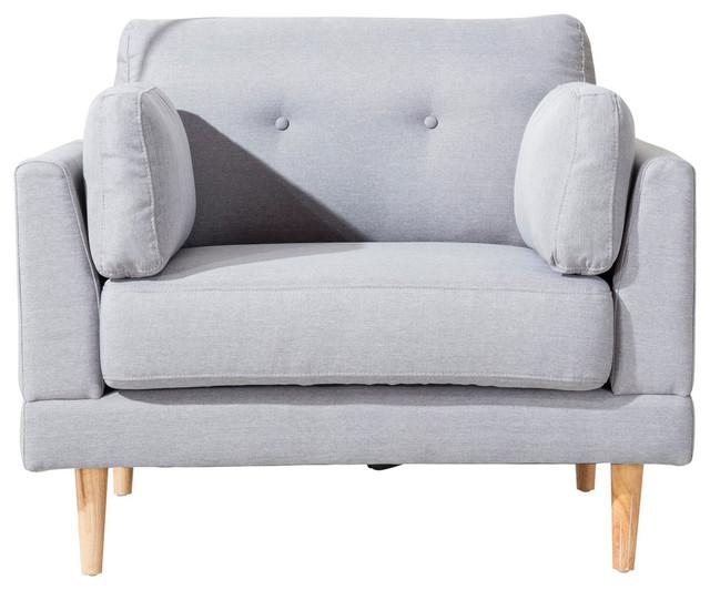Mid Century Modern Ultra Plush Linen Fabric Accent Chair, Light Gray