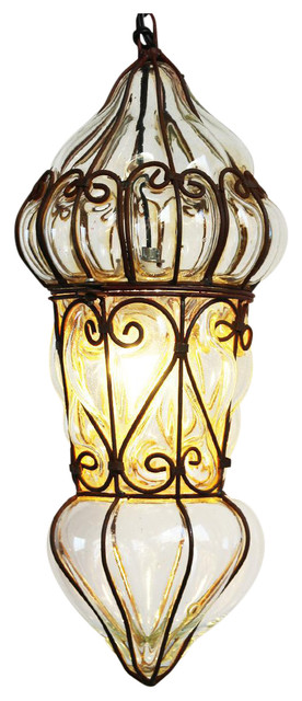 Consigned Venetian Glass & Iron Lantern, Medium.
