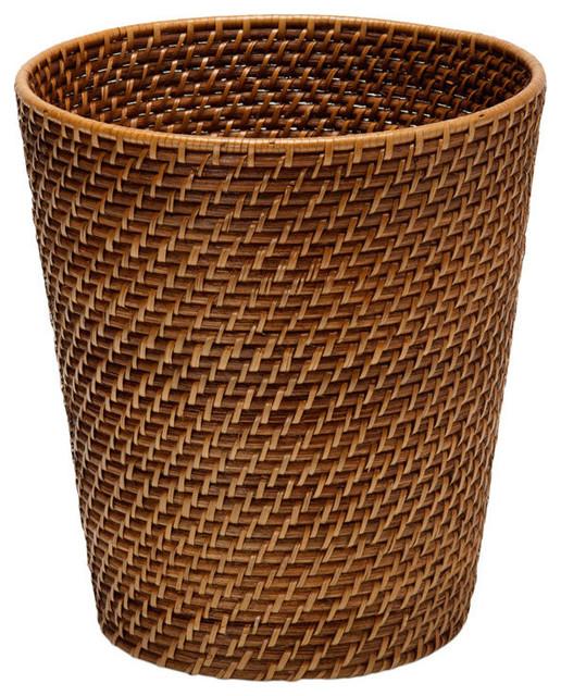 Round Rattan Waste Basket Honey Brown Tropical Wastebaskets