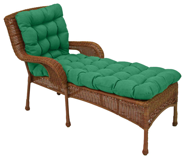 """74""""x19"""" Squarded Outdoor Tufted Chaise Cushion, Emerald"""