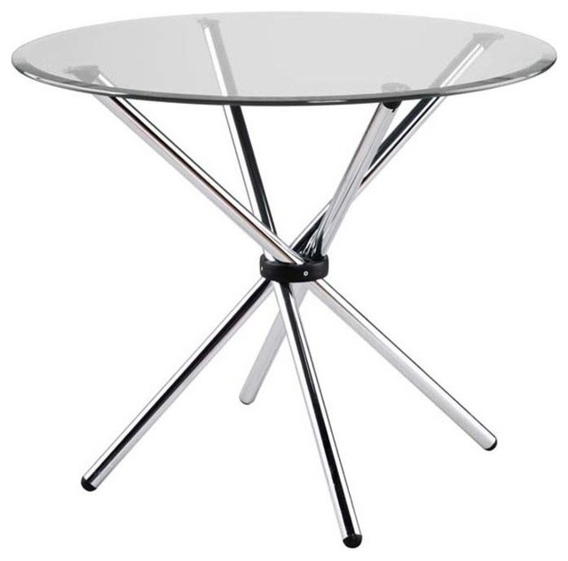Hydra Round Glass Dining Table With Chromed Steel Base  : contemporary dining tables from www.houzz.com size 640 x 632 jpeg 37kB