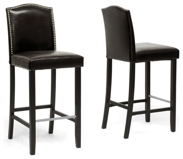 Libra Modern Bar Stools With Nail Head Trim, Set of 2, Dark Brown