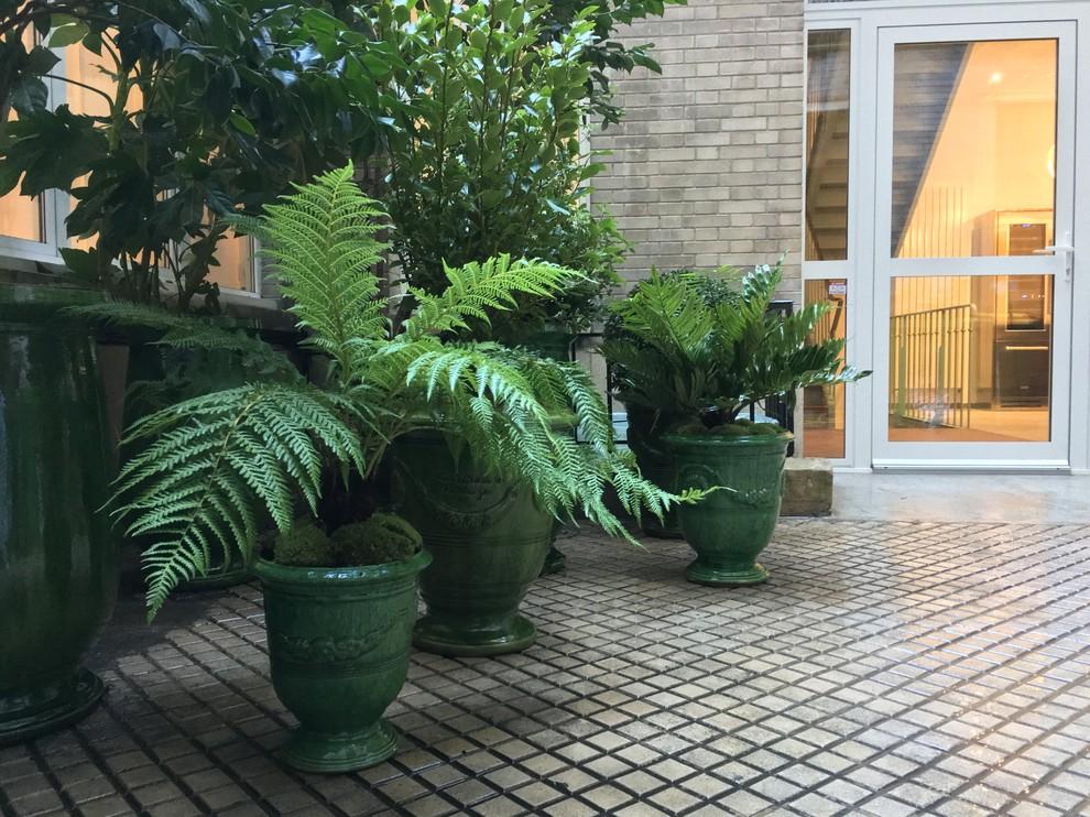 Des vases d'Anduze dans une cour du 11ème arrondissement de Paris