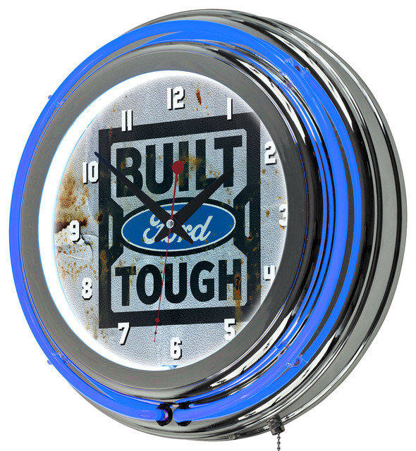 Ford Chrome Double Rung Neon Clock Traditional Game