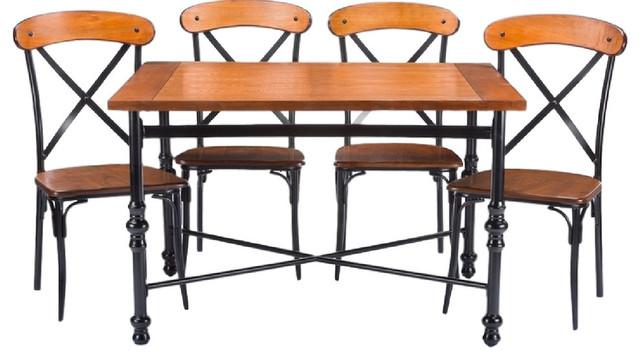 Broxburn Light Brown Wood And Metal 5-Piece Dining Set.