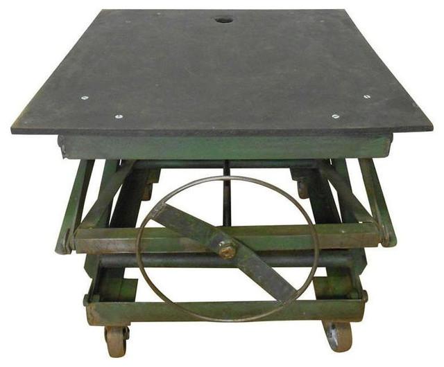 Industrial Slate Top Adjustable Coffee Table - $1,750 Est. Retail - $ - SOLD OUT! Industrial Slate Top Adjustable Coffee Table - $1,750