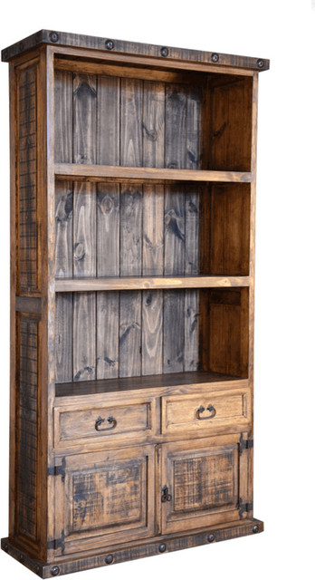 Rustic Bookcase With Cabinet Doors Rustic Bookcases
