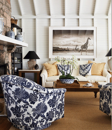 Beachy eclectic family room