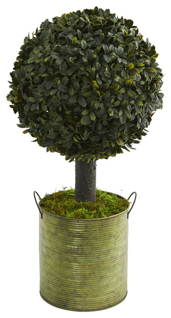 1.5 ft. Boxwood Ball Topiary Artificial Tree in Green Tin