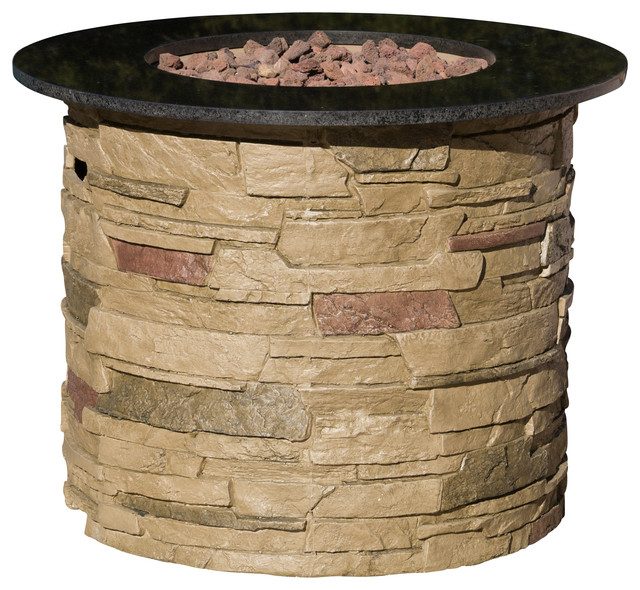 rogers outdoor round liquid propane fire pit with lava rocks firepits