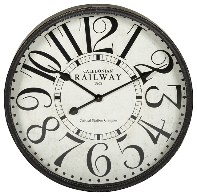 railway horloge en m tal 59cm de diam tre r tro horloge murale par alin a mobilier d co. Black Bedroom Furniture Sets. Home Design Ideas