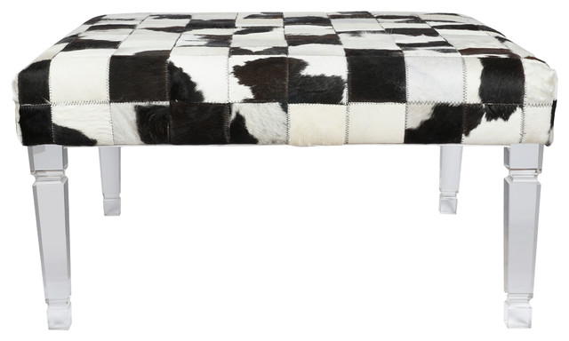 "Upholstered Bench Patchwork Cowhide 36""x36""x18""."