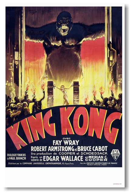 King Kong 1933 French Movie Vintage Reprint Poster