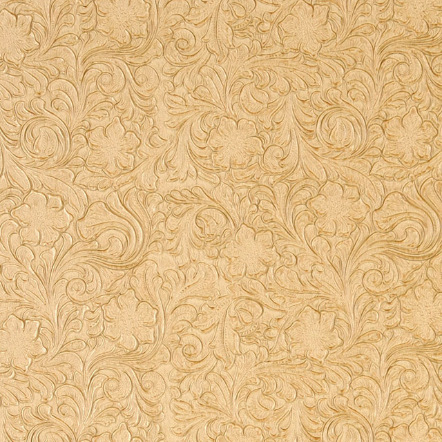 Butter Yellow Tooled Floral Designed Upholstery Faux