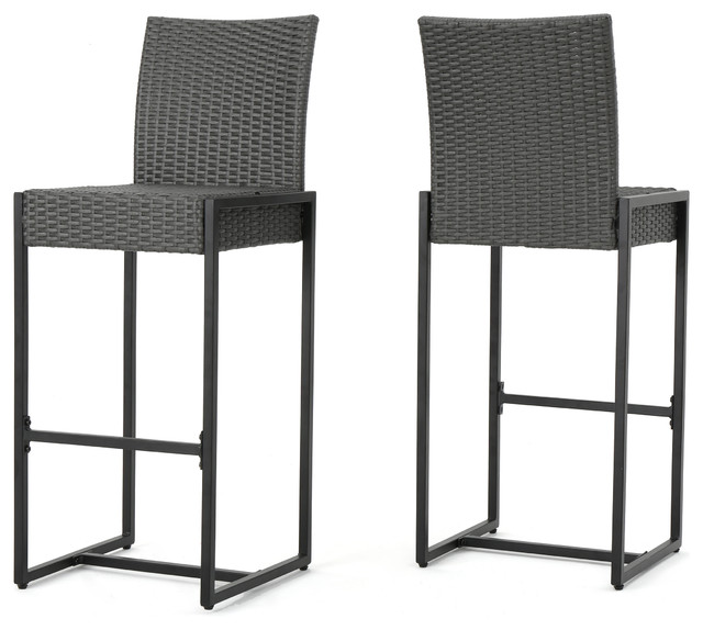 conrad outdoor patio gray wicker barstools set of 2
