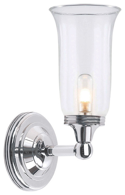 Austen Bathroom Wall Lantern, Polished Chrome