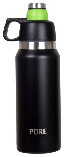 34oz Thermo Canteen With Twist-Off Cap And Cup, Black.