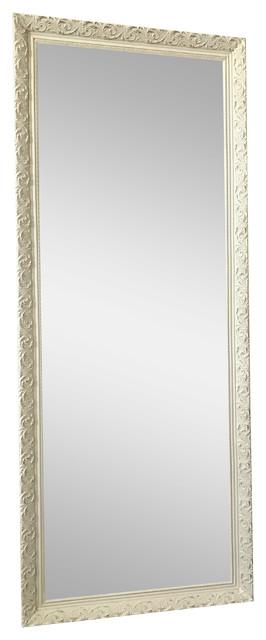 """Bella Ornate Embossed Antique White Leaner Wood Framed Mirror 24""""x64""""."""