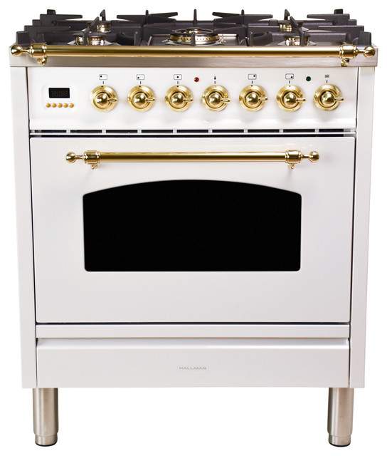 "30"" Single Oven Dual Fuel Range, White"