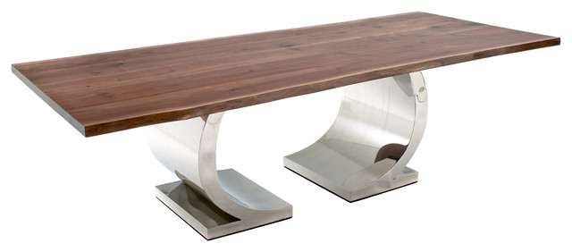 Amazing Dining Table With Modern Half Circle Base Black Walnut Plank Top 72X48X31 Ncnpc Chair Design For Home Ncnpcorg