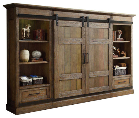 Hunts Point Vintage Style Weathered Pine Sliding Door Entertainment