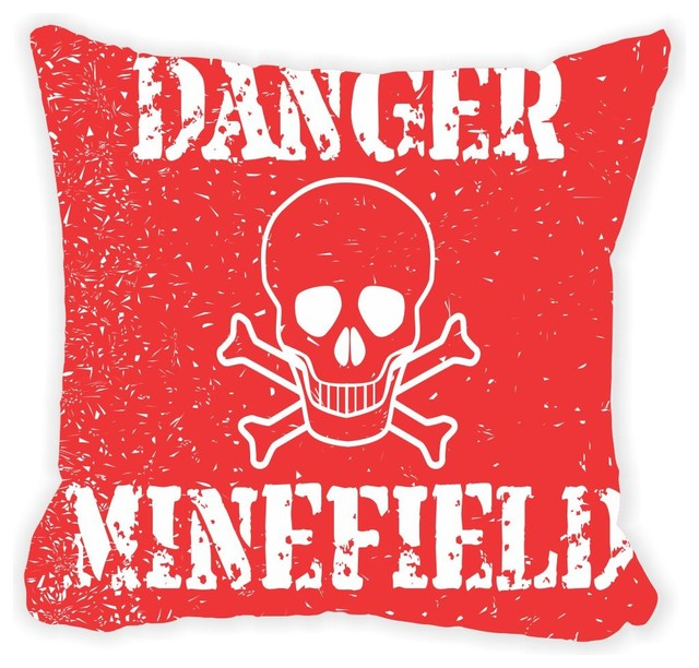 Danger Minefield Red Sign Vintage Microfiber Throw Pillow With Fill