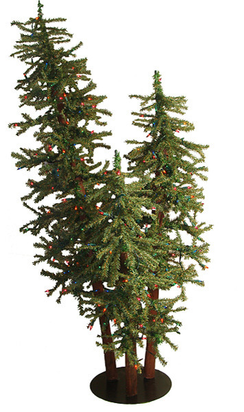 5' Pre-Lit Natural Alpine Artificial Christmas Tree Trio Set, Multi Lights - 5' Pre-Lit Natural Alpine Artificial Christmas Tree Trio Set, Multi