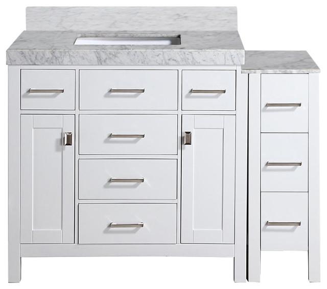 "52"" Malibu White Single Modern Bathroom Vanity with Side Cabinet"
