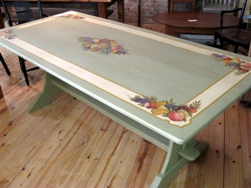 Hand Painted Dining Table With Summer Fruit Design Farmhouse