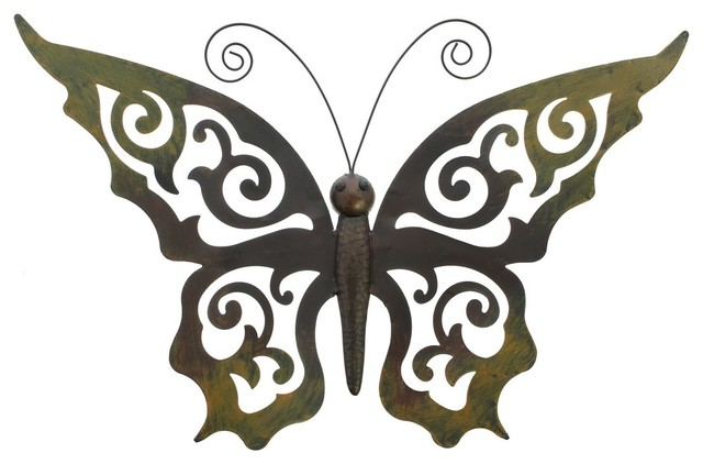 Metal Butterfly Wall Decor With Ornate Wings Contemporary Outdoor Wall Art