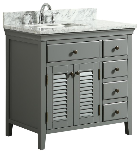 "Callum Gray Bathroom Vanity With Marble Counter, 36""."