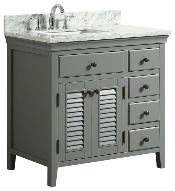 "Callum Gray Bathroom Vanity With Marble Counter, 36""."