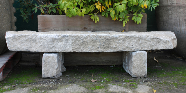 Granite Curbstone Bench Eclectic Outdoor Benches San
