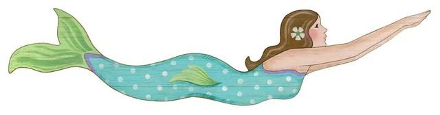 Suzanne Nicoll Mermaid Girl Wood Panel Sign.