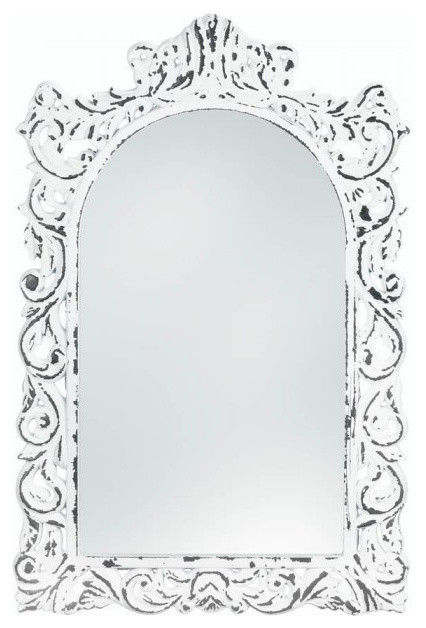 Distressed White Ornate Wall Mirror.